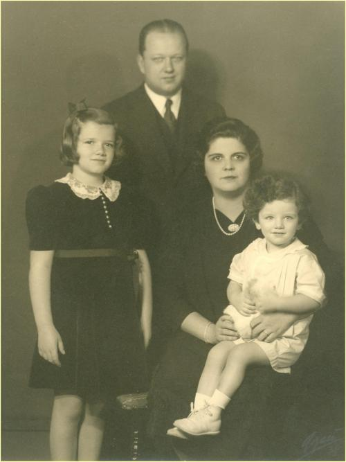 """9.J. P. Seiberling, Harriet M. Seiberling and their children, Mary Margaret and James Henry """"Jim,"""" circa 1939. Source: Stan Hywet Hall & Gardens."""