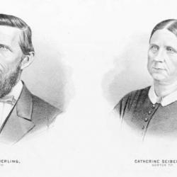 Nathan and Catherine Seiberling portraits from 1874 atlas