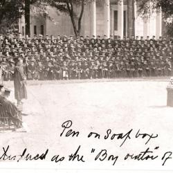 "4.	At Princeton's June 1921 Commencement, ""Shorty"" Seiberling is honored during a classmate's ""history of the class"" presentation as best orator by being given a soapbox on which to stand. Source: Chapman Family."