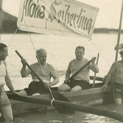 """5.F.A. Seiberling and J. Penfield Seiberling in Honolulu, Hawaii in early December 1931, during their national tour to meet with 5,000 Seiberling Rubber Co. tire dealers. They met Seiberling's major tire distributor and Hawaiian Seiberling dealers, to whom F.A. Seiberling introduced the company's newest tire, the """"air-cooled super triple-tread."""" F.A. also gave a speech to local dealers and to the Rotary Club of Honolulu during their sojourn. Source: Chapman Family."""