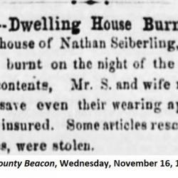 Summit County Beacon 1859 house fire article