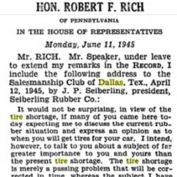 8.Screen capture of the title and opening remarks of Penfield Seiberling's speech to the Dallas Salesmanship Club in April 1945. Source: The Congressional Record: Proceedings and Debates of the 79th Congress, First Session, Appendix, Volume 91, Part 12, June 11, 1945- October 11, 1945, p. A2800. United States Government Printing Office, Washington, D.C.