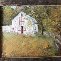 "Dr. Kroeger has titled this barn on S. Medina Line Road ""LeRouge Et Le Blanc"" and it will be part of the silent auction."